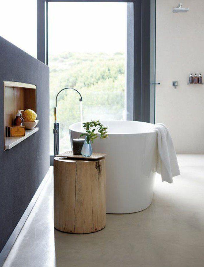 baignoire ovale blanche dans la salle de bain zen, sol beige dans la salle de bain pas cher