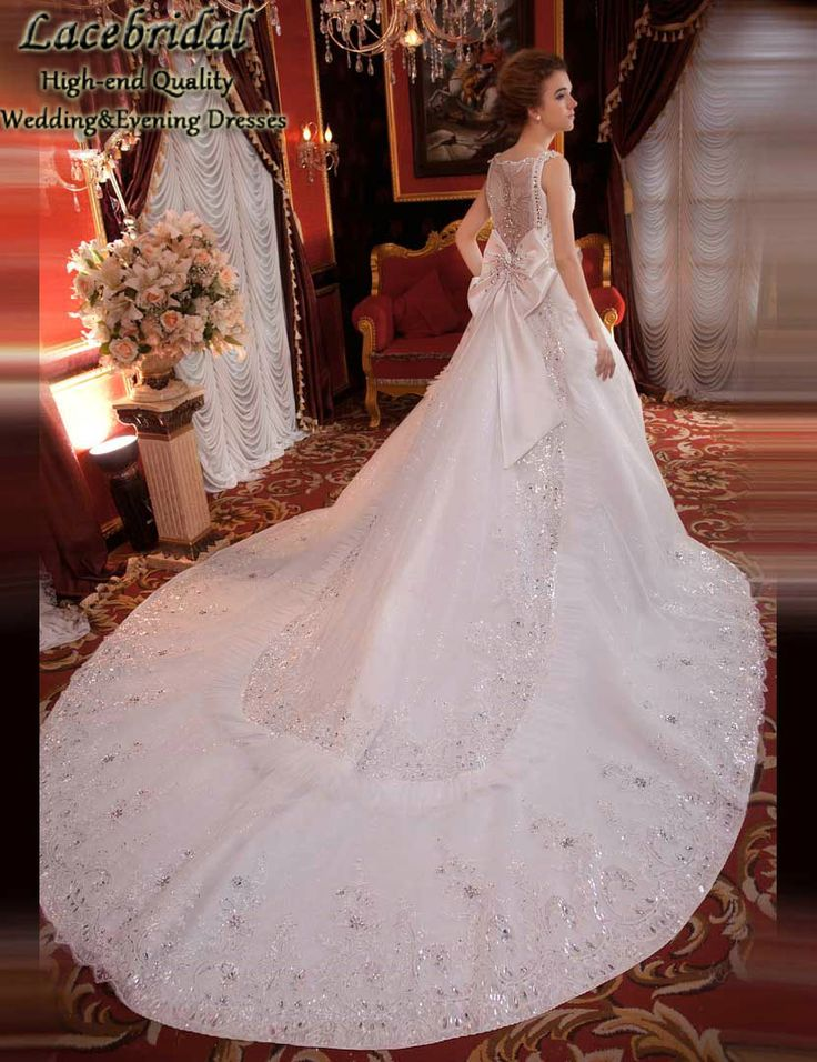 Find More Wedding Dresses Information about Luxury Ball Gown Cathedral Train Lace Beaded Diamond Rhinestone Wedding Dresses 2015 Long Bridal Gowns vestidos de novias XW131,High Quality dress overlay,China dress high heel shoes Suppliers, Cheap dress tv from LaceBridal on Aliexpress.com