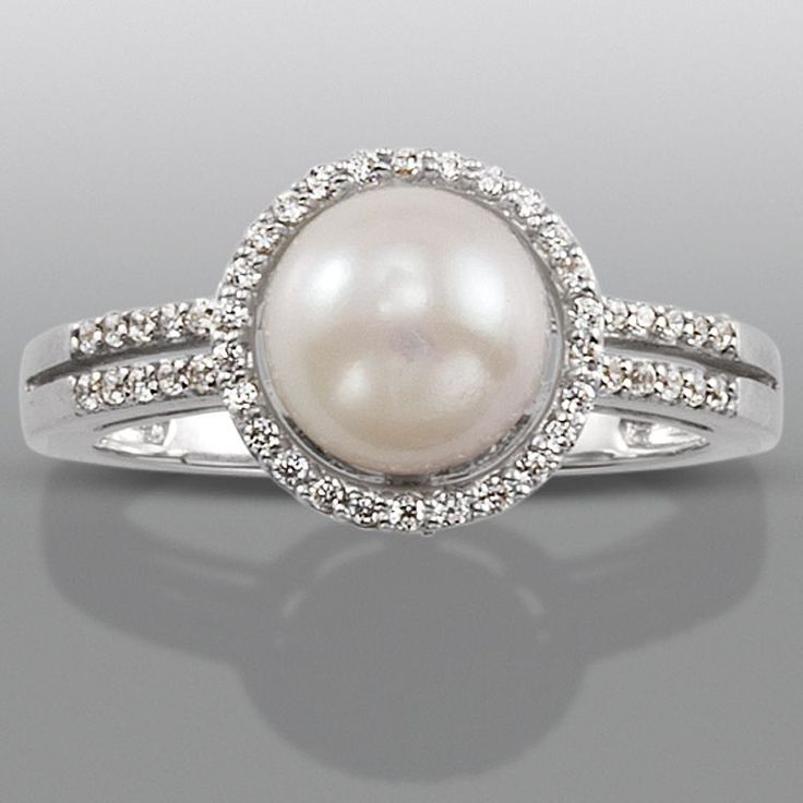 rings gold white diamond flowering ring pearl ladies