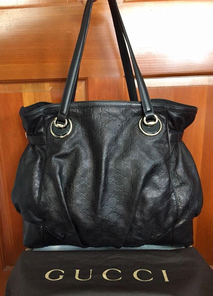 49e1e88dcfb Gucci Large Black Leather Guccissima Full Moon Handbag GG Shoulder Hobo Tote  Bag