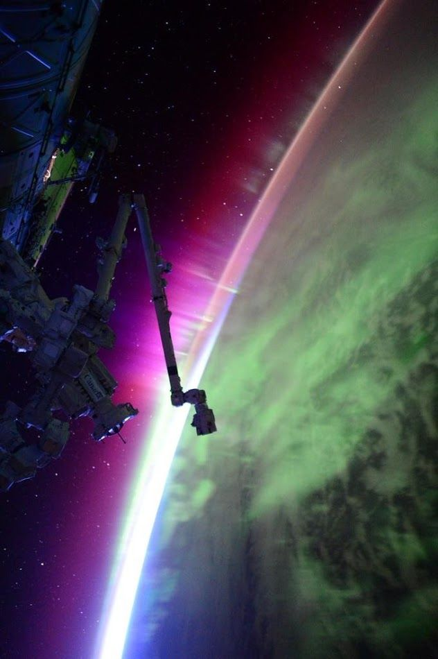 """Active Aurora   International Space Station Scott: """"Another pass through aurora. The sun is very active today, apparently.""""   Credit: NASA/JSC, U.S. Astronaut Scott Kelly Date: August 15, 2015"""