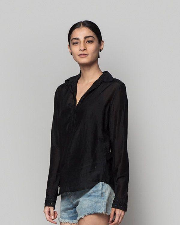 NICOBAR Cotton Silk Embroidered Top