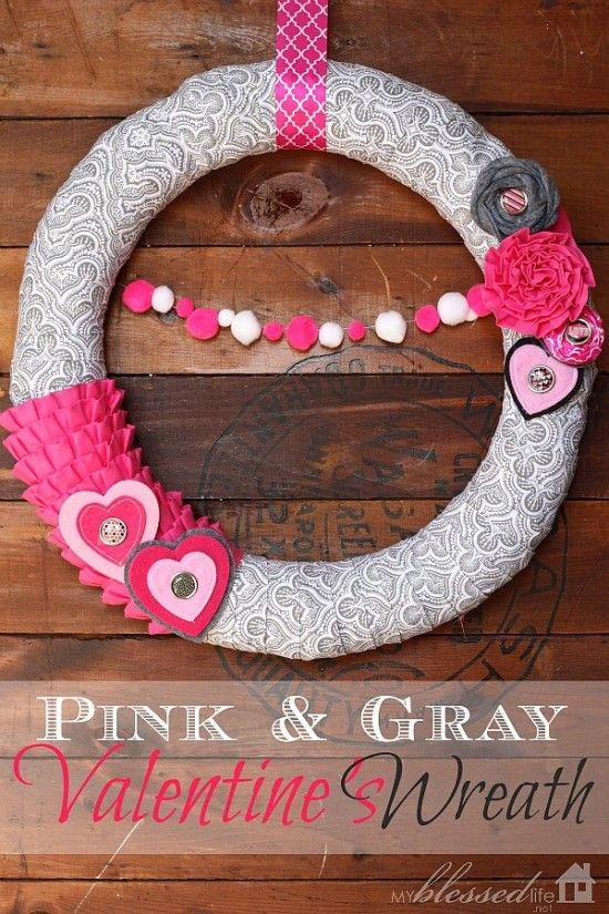 Valentines Wreath {Pink & Gray} | MyBlessedLife.net