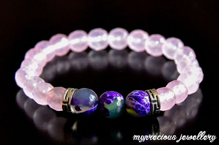 Natural Pink Quartz Onyx 8 mm Gemstone Bracelet Elasticated Healing Stone Gift