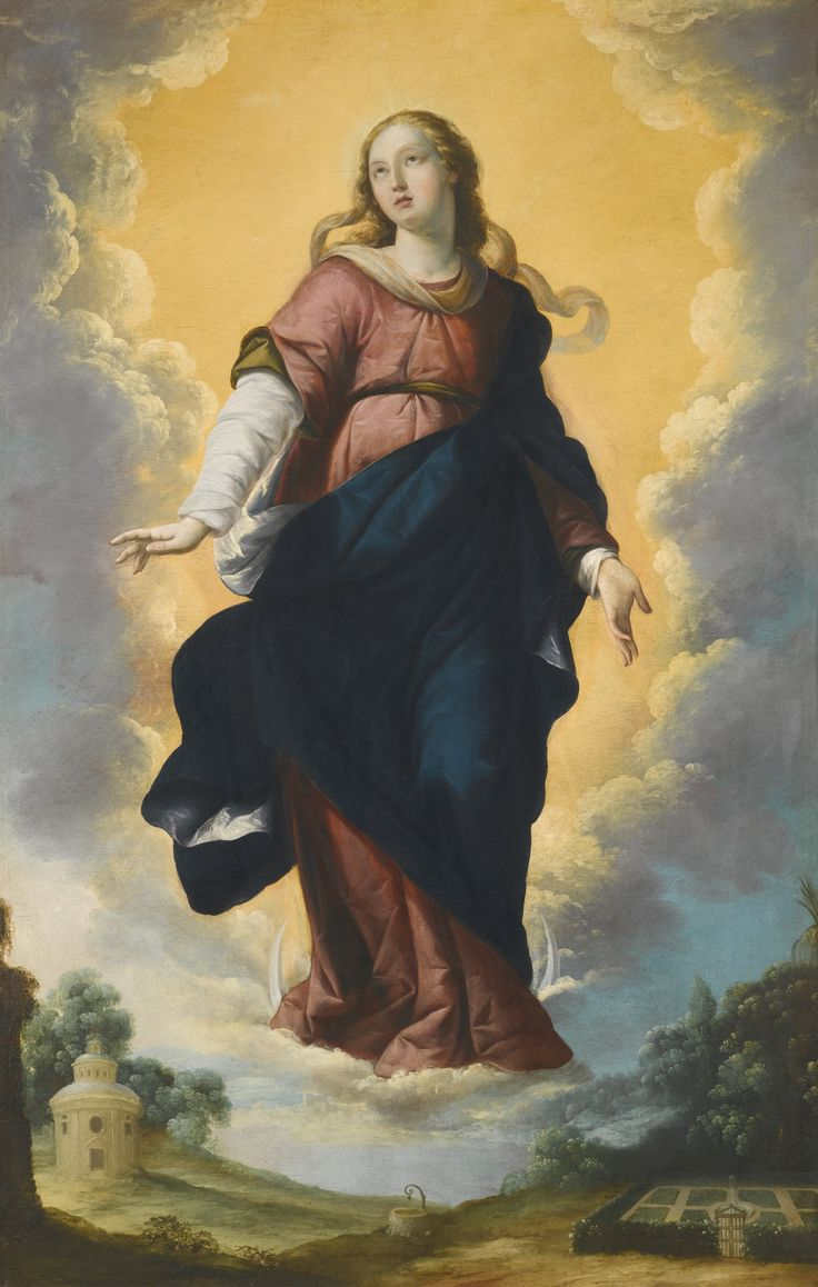 Workshop of Francisco de Zurbarán FUENTE DE CANTOS, BADAJOZ 1598 - 1664 MADRID THE IMMACULATE CONCEPTION bears inscription on the reverse: DE. BA(in ligature)ar.DE(in ligature) oil on canvas 169 by 107 cm.; 66 1/2  by 42 1/8  in.