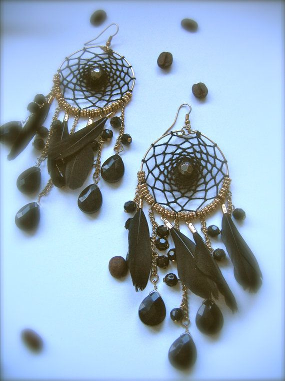 Black Dreamcatcher Earrings black dream catcher by Monikagifts