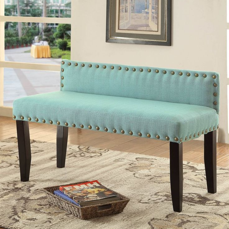 Sit in style with this lovely transitional bench, which will look perfect in any room. Its indulgent seating is thanks to its foam-filled flax upholstered seating while the perfectly placed nailhead trim gives off an inviting look of stylish design. Supported upon espresso wooden legs, enjoy endless hours of cozy comfort in your new favorite chair.