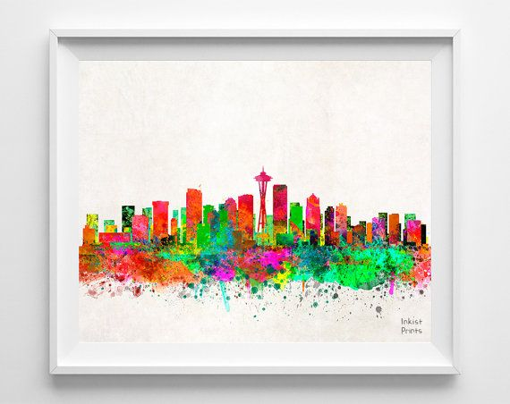 Seattle Skyline Watercolor Poster Washington Print by InkistPrints, $11.95 - Shipping Worldwide! [Click Photo for Details]