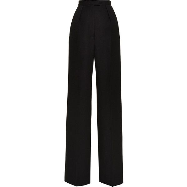Vilshenko Lydia Black Wide Leg Wool Pant (2 210 SEK) ❤ liked on Polyvore featuring pants, high-waisted trousers, pleated wide leg pants, black wide leg trousers, black wool pants and black straight leg pants