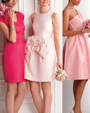 Modern 'Maids - I like the idea that they don't have to wear identical outfits or matching bouquets; everyone can pick a dress and shade they look best in from a complementary palette and set of styles