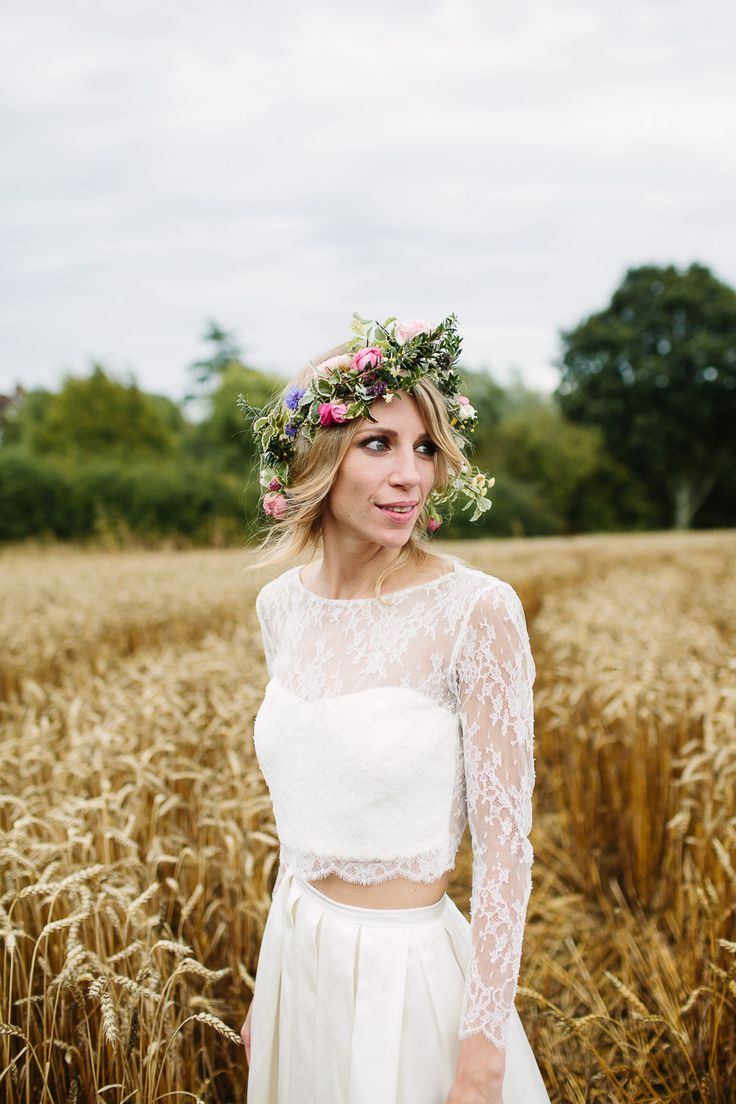 Bride in Custom Made Separates & Flower Crown - Joanna Brown Photography | Rustic Wedding at The Great Barn Rolvenden in Kent | Bespoke Bridal Separates | Mis-Match Bridesmaid Gowns | Teal Paul Smith Suit