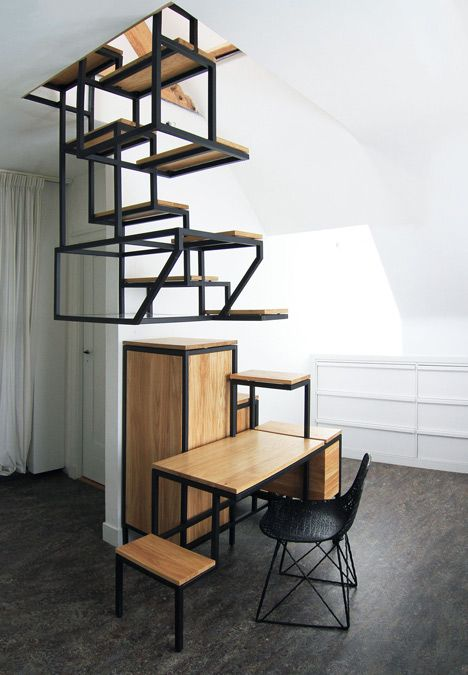 Innovative Suspended Stairs Double as All-In-One Workspace - My Modern Metropolis
