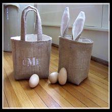 Wholesale monogrammed burlap easter basket