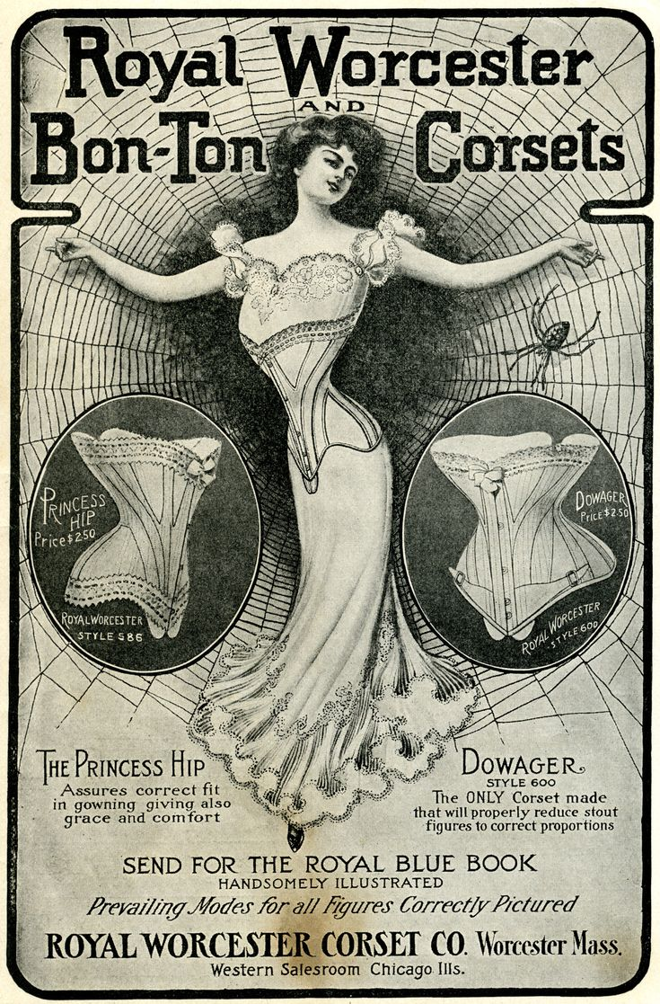 "This vintage advertisement for Royal Worcester Bon-Ton Corsets is from the October 1902 issue of ""The Delineator"" magazine"