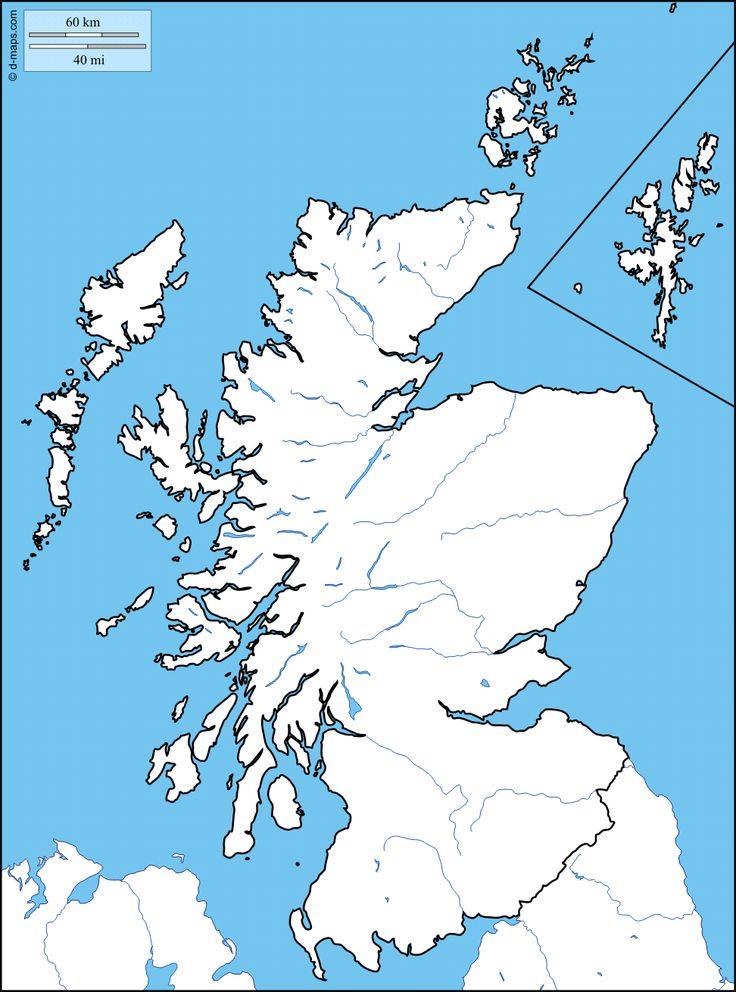 Ecosse : carte géographique gratuite, carte géographique muette gratuite, carte vierge gratuite, fond de carte gratuit : littoraux, limites, hydrographie