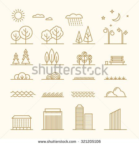 Linear landscape elements vector icons set. Line trees, flowers, bushes, water waves, cloud, stones, grass, plant and stars. Design set graphic outline illustration - stock vector