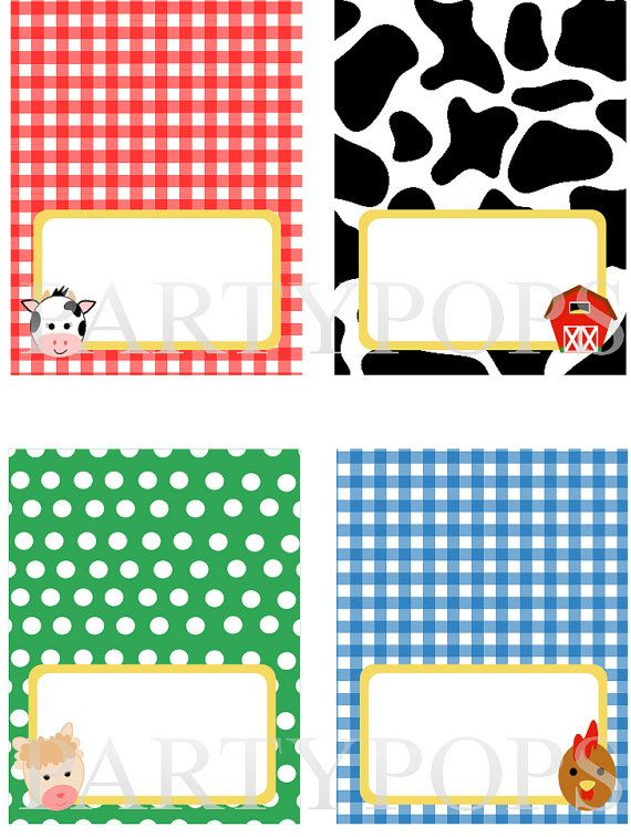 Diy Farm Party Food Label Name Place Card Tabel Tent