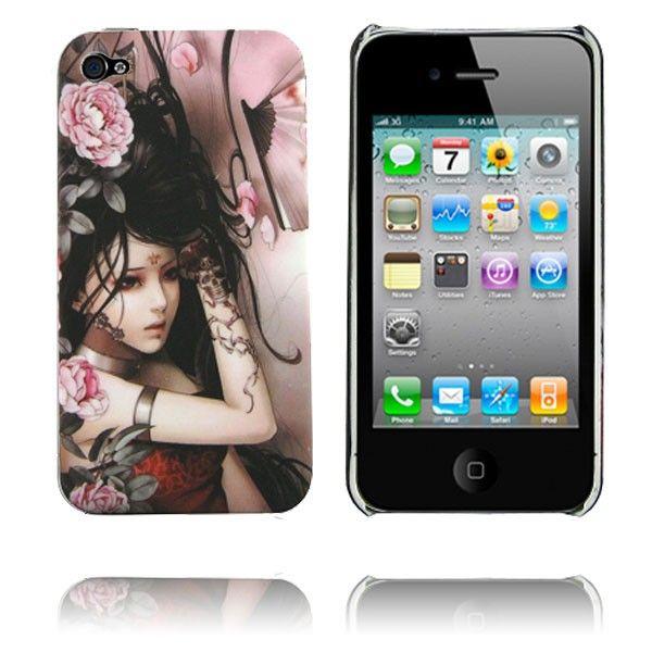 Ghost Woman (Svart Hår Rosa Blommor) iPhone 4 Mjukskal