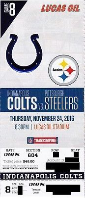 INDIANAPOLIS COLTS v PITTSBURGH STEELERS TICKET STUB 11/24/2016 @ LUCAS OIL STAD