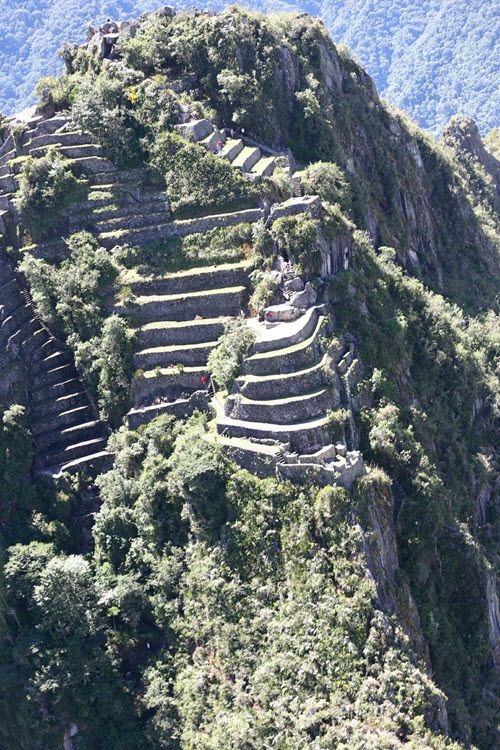 Huayna Picchu close-up aerial shot taken from Peru president's helicopter