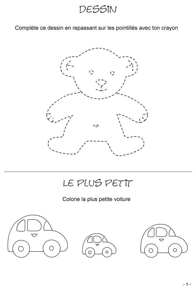 jeux pour enfants de 3 4 ans fiche 1 repasser sur les pointill s jeux logiques divers