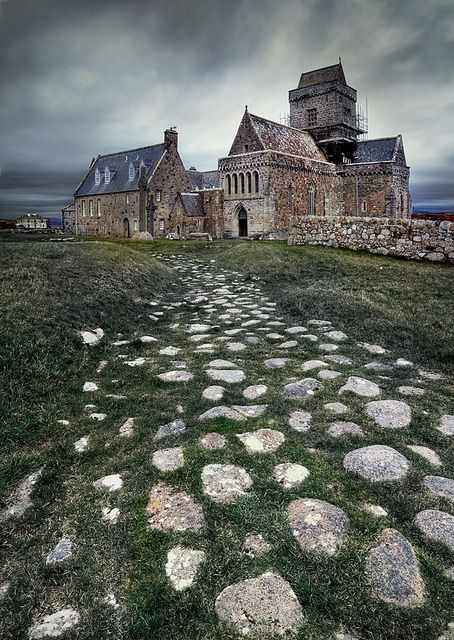 Iona Abbey, Scotland. Benedictine abbey church of Iona - founded by St Columba in 563 - rebuilt c1200