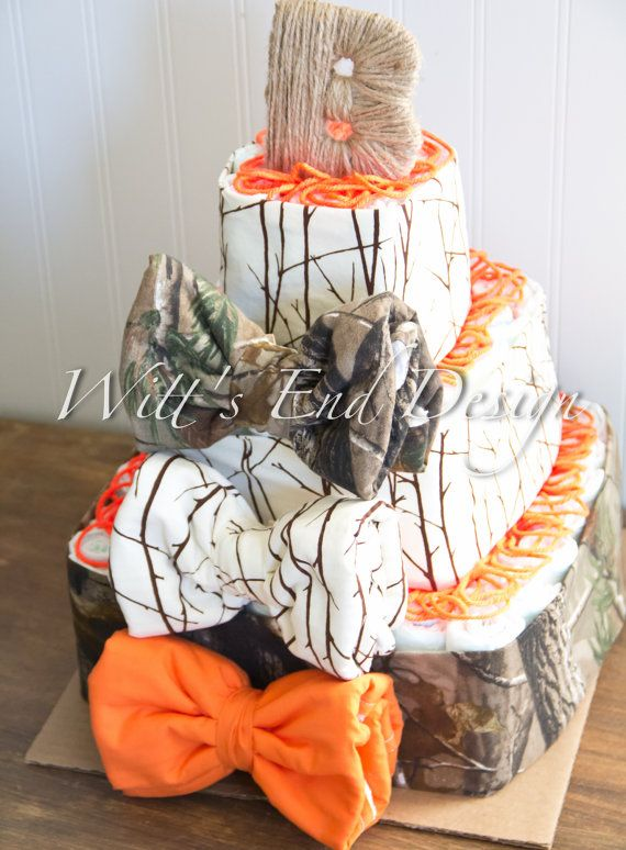 NEW Hunting Baby Boy 3-tier Square Diaper Cake or Shower Centerpiece on Etsy, $80.00