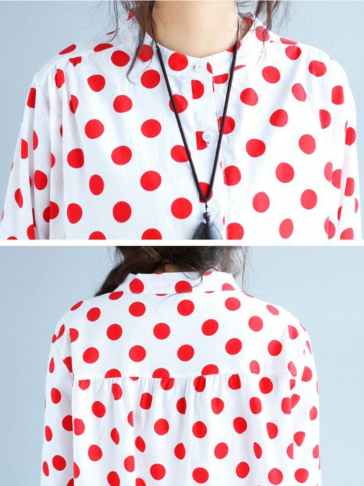 Casual Women Polka Dot Stand Collar Button Shirt