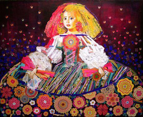 mixed media collage acrylic painting Infanta Margarita - Media - Quilting Daily