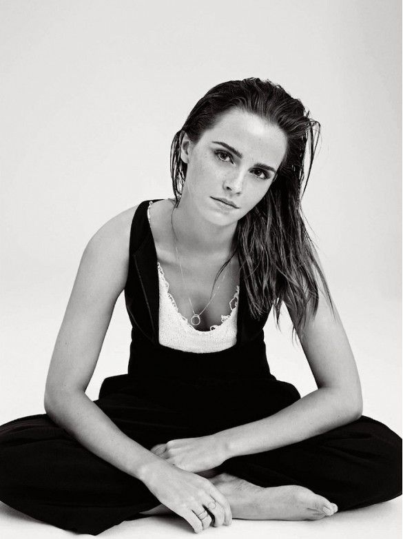 Emma Watson in black and white for Elle UK December 2014 // Photo by Kerry Callihan