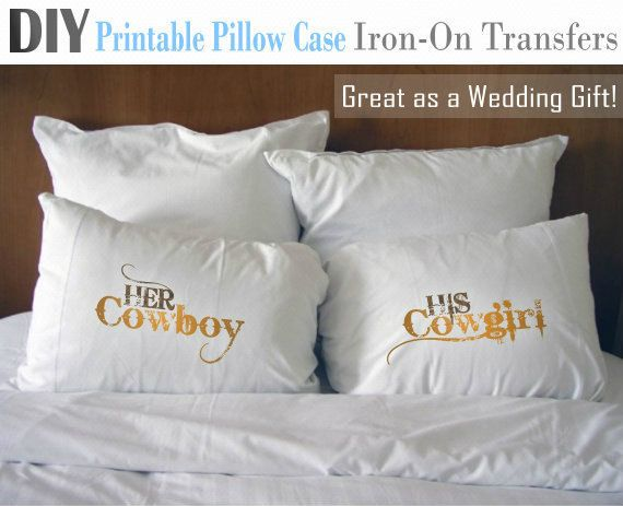 Her Cowboy His Cowgirl - Iron-On Printable Pillow Transfer