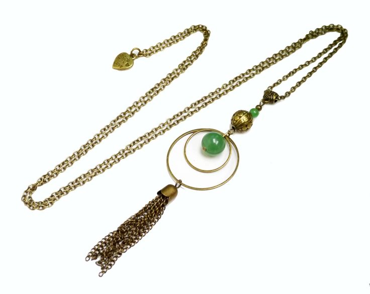 Collier sautoir perle aventurine verte anneaux pompon bronze bohême vintage