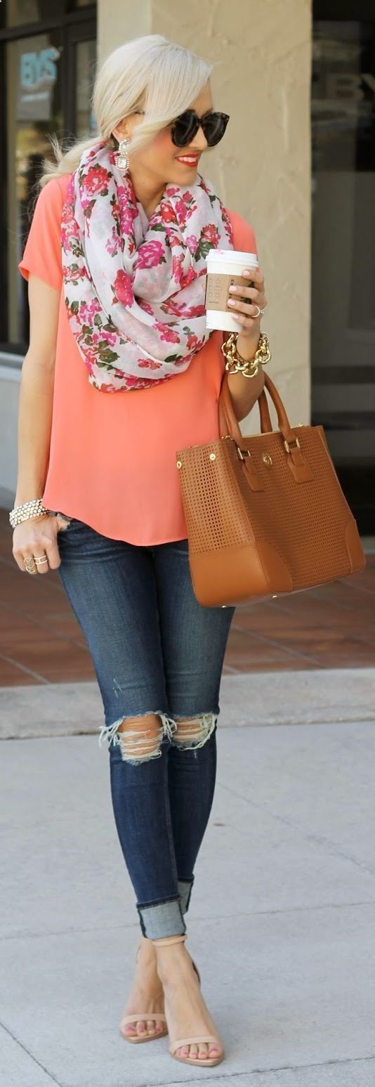 Love the loose fitting shirt - looks comfy. Pretty scarf. No on the jeans...