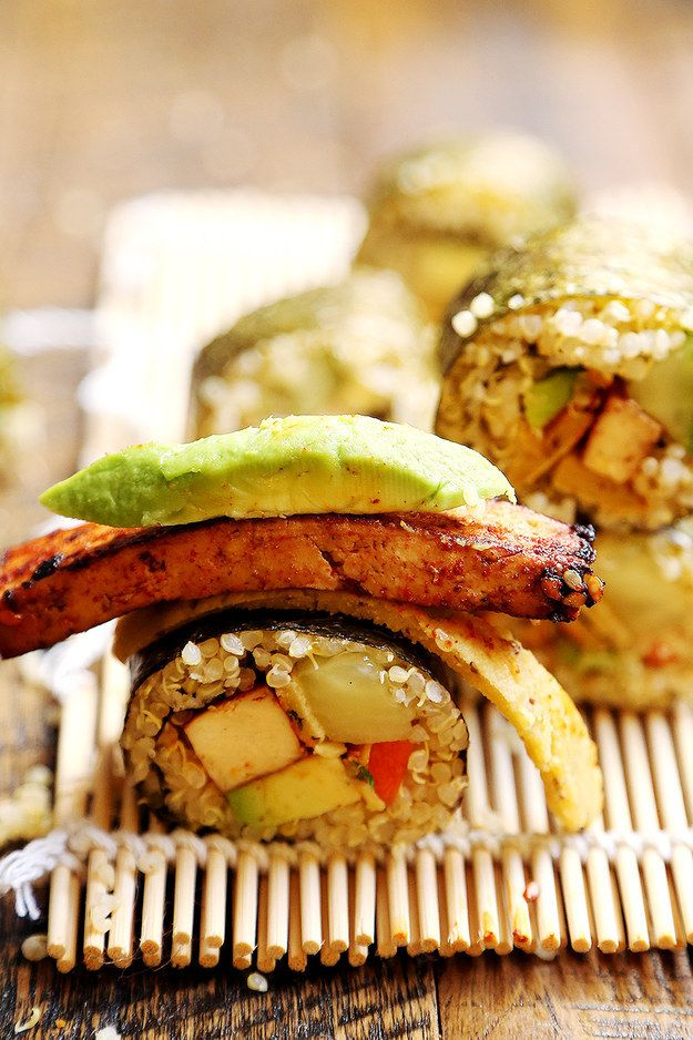 Quinoa Sushi with Tofu Steaks and Chickpea Bean Egg | 23 Vegan Meals With Tons Of Protein
