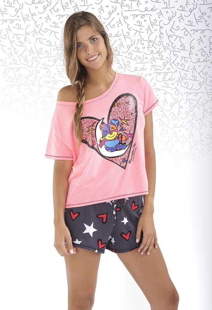 Pijama Mujer Britto, manga corta, pantalón corto.