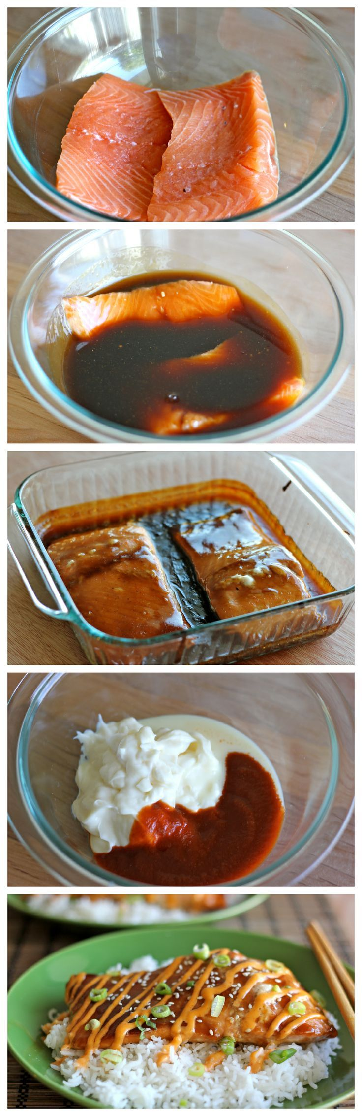 Teriyaki Salmon with Sriracha Cream Sauce - An easy dish with homemade teriyaki sauce and a sweet and spicy Sriracha cream sauce!