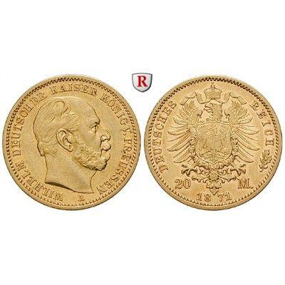 Deutsches Kaiserreich, Preussen, Wilhelm I., 20 Mark 1871, A, ss-vz, J. 243: Wilhelm I. 1861-1888. 20 Mark 1871 A. J. 243; GOLD,… #coins