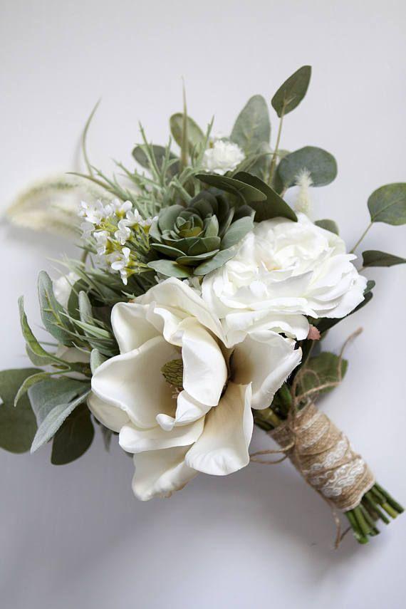 White Wedding Bouquet Greenery Succulent Bridal Bouquet Silk