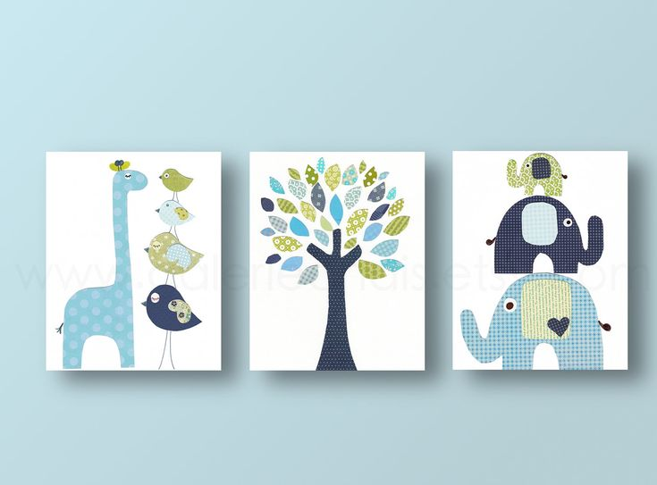 Nursery art prints, baby nursery decor, nursery art, Bird, elephant, tree, giraffe, blue green, navy, Set of 3, 8x10 prints from Paris...for all my pregnant friends! haha
