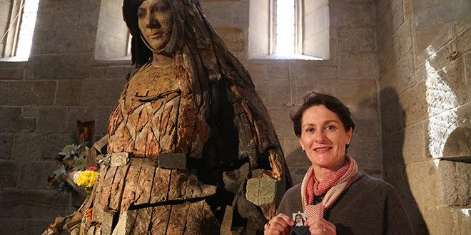 Saintly inspiration: Carmel Gribban gives thanks to St Mary of the Cross in St Stephen's Chapel, Brisbane city. Photo: Emilie Ng