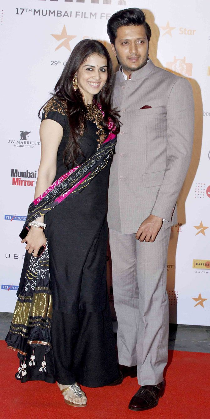 Riteish Deshmukh and Genelia D'Souza Deshmukh at the opening ceremony of the MAMI Film Festival. #Bollywood #MAMI2015 #Fashion #Style #Beauty #Cute #Handsome #Desi