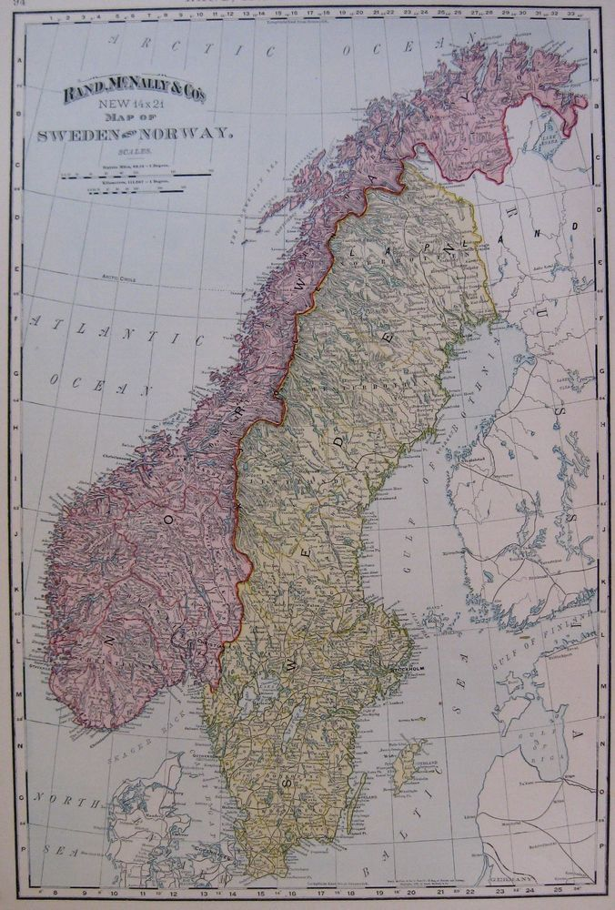 South America Map Borders%0A      Antique Norway  u     Sweden Map RARE Poster SIZE Vintage Original Map