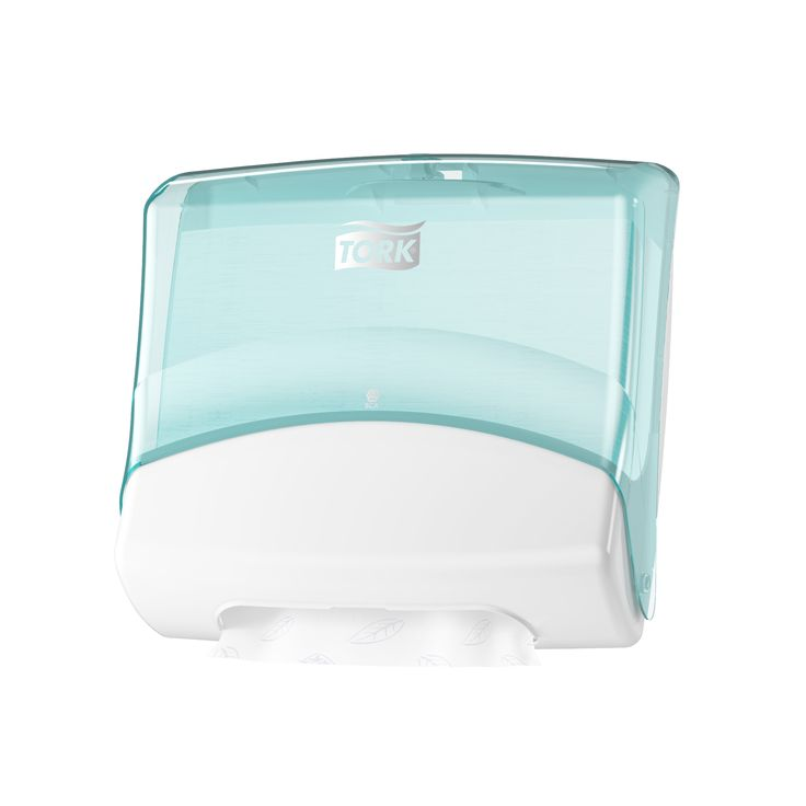 Tork Folded Wiper/Cloth Dispenser: This hygienic dispenser protects the wipes, reduces consumption by dispensing one sheet at a time and fits almost any wall. (System: W4 - Top pak system; Material: Plastic; Height: 394 mm, Width: 427 mm, Depth: 206 mm; Color: White/Turqoise) Get more information about this product at: http://bimobject.com/en/sca-eu/product/654000/sca-tork-eu