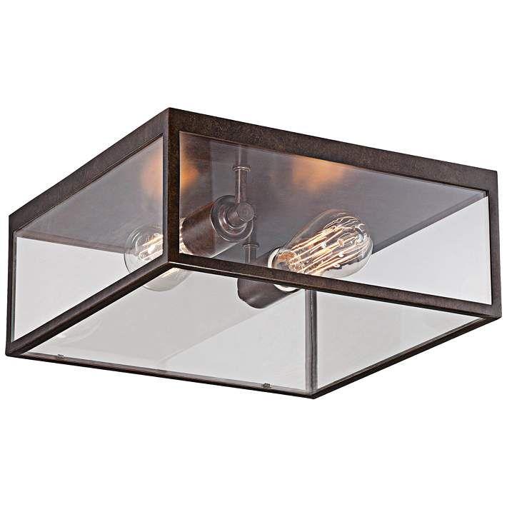 "Montesidro 12""W Bronze Square Glass Outdoor Ceiling Light - #8Y711   Lamps Plus"