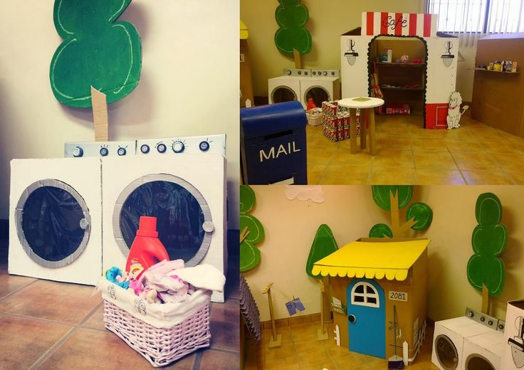 Pera Chapita ---- Fiesta recicla, reusa, reduce, reduce, reuse, recycle birthday party theme, cardboard laundry, washer and dryer, cardboard house and mailbox, earth day, #cardboard #playhouse #earthday
