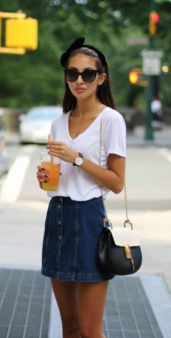 Button front denim skirt -- the new trendiness