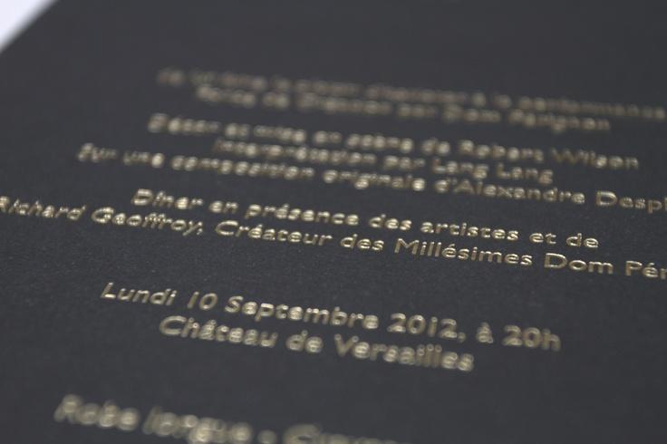 Dom Pé invitation for event at Versailles