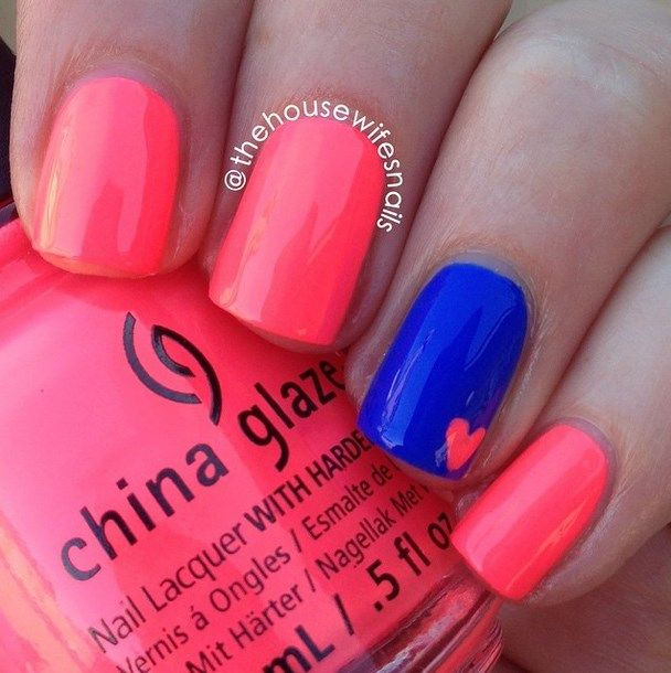 Small heart neon nail art