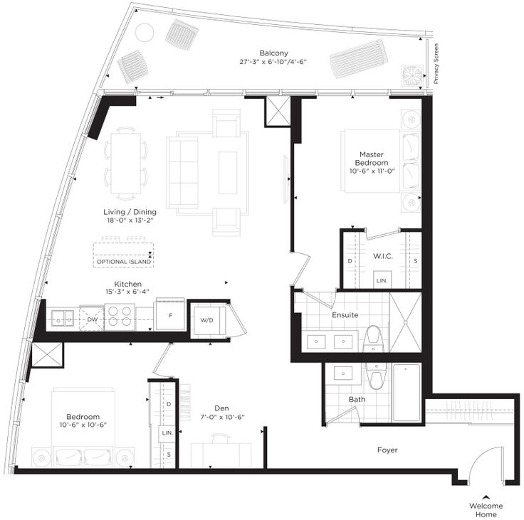The 2013 SAMMY award winning floorplan for the HIghcroft. Model suite is located at the sales centre at 400 Richmond Rd.