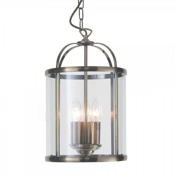 £89 34CM HEIGHT 3 Light Hall Lantern Ceiling Pendant - Antique Brass